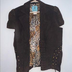 vintage real leather vest